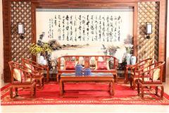 富宝轩红木 缅甸花梨沙发 新古典大果紫檀 高端家具 《皇宫椅沙发独板A51》8件套