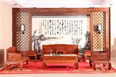 富宝轩红木 缅甸花梨新古典沙发 大果紫檀高端家具 《花鸟罗汉床沙发A74》7件套