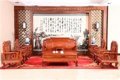 富宝轩红木 缅甸花梨新古典系列  大果紫檀《踩珠沙发》11件套