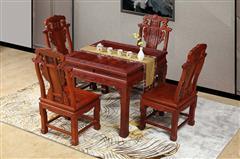 明清居 東陽木雕 紅木家具 中式家具 彪云系列 餐廳系列 緬甸花梨(學名大果紫檀) 小方桌0.96米