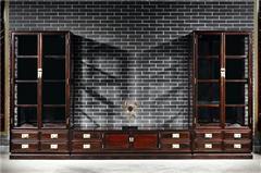 御乾堂 中式古典红木家具 大红酸枝 老红木 交趾黄檀 榫卯制作 餐厅简约 经典三组合酒柜