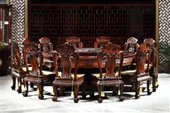 御乾堂 中式古典红木家具 大红酸枝 老红木 交趾黄檀 榫卯制作 餐厅清式大气富贵2米28 十二生肖圆台13件套