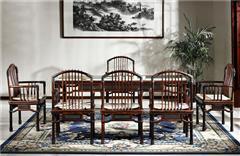 御乾堂 中式古典红木家具 大红酸枝 老红木 交趾黄檀 榫卯制作 茶室会议室客厅 祥云茶桌7件套
