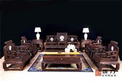 国方家居  中山大不同千赢国际入口 老挝大红酸枝沙发(学名交趾黄檀) 高端千赢国际入口家具 中式古典客厅系列 大卷书沙发13件套