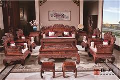 国方家居  中山大不同红木 老挝大红酸枝沙发(学名交趾黄檀) 高端红木家具 中式古典客厅系列 国标红木家具 硕果累累沙发13件套