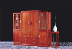 国方家居  中山大不同红木 缅甸花梨(大果紫檀) 套房卧房系列 中式衣柜 古典红木家具 国标红木衣柜 和谐嘉园大衣柜