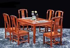國方家居  中山大不同紅木 緬甸花梨(大果紫檀)餐臺 餐廳系列 中式餐臺餐桌 古典紅木家具 紅木餐臺  1.48米和諧嘉園餐臺7件套