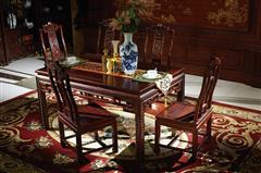 明清居 中式家具 中国梦系列 黄金檀 餐厅系列 A款方餐台1.48米配6椅