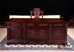 国方家居 中山大不同红木 老挝大红酸枝(交趾黄檀) 书房办公系列 古典红木家具 红木办公台   2.2米雕龙办公台