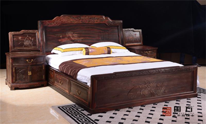 国方家居 中山大不同红木 老挝大红酸枝(交趾黄檀)大床 套房卧房系列 中式大床 古典红木大床 高端红木大床  2米和美如意大床(黑料加厚)