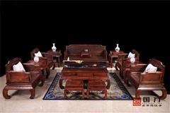 国方家居 中山大年夜不合红木 老挝大年夜红酸枝(交趾黄檀)沙发 客堂系列 高端红木家具 繁复型红木家具 红木沙发 贡福沙发(素面)13件套