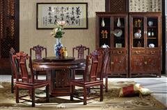 明清居 中式家具 中国梦系列 黄金檀 餐厅系列 中国梦A款圆台1.38米配6椅
