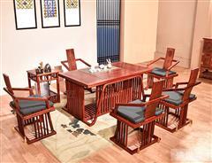 盛世周木匠 缅甸花梨 清风茶台 红木茶台  明清古典 客厅系列