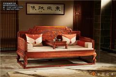 华行红木 巴西花梨罗汉床 巴花实木家具 中式古典罗汉床 2.15米宝座罗汉床