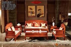 华行红木 巴西花梨沙发 巴花影雕家具 中式新古典沙发 客厅家具系列 诗画江南沙发6件套