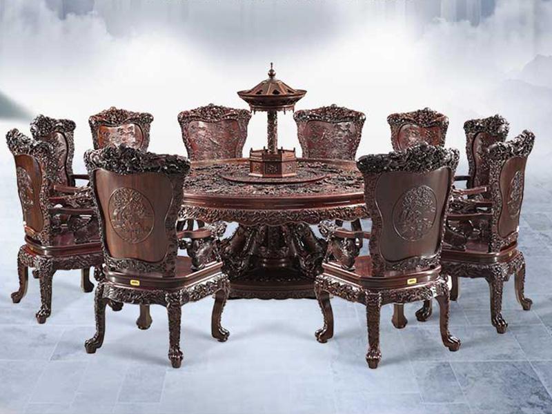 泰和园 古典红木家具 清式圆台 红木餐台餐桌 百子团圆餐桌 11件套