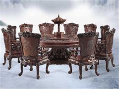 泰和園 古典紅木家具 清式圓臺 紅木餐臺餐桌 百子團圓餐桌 11件套