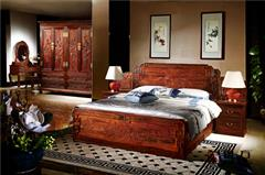 国方家居 中山大年夜不合红木 老挝大年夜红酸枝大年夜床(学名交趾黄檀) 高端红木家具 中式套房卧房系列 1.8米大年夜床3件套