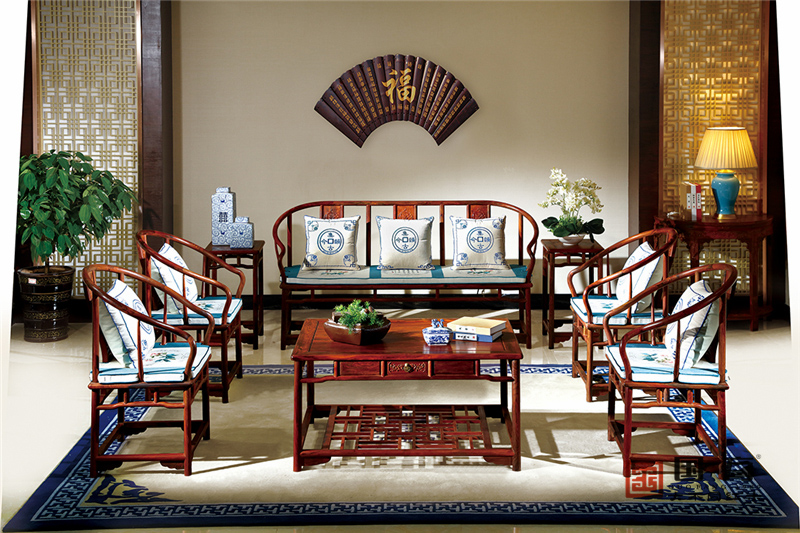 国方家居 中山大不同红木 老挝大红酸枝沙发(学名交趾黄檀) 高端红木家具 国标红木 中式古典客厅系列 圈椅沙发8件套