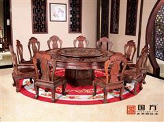 国方家居 中山大不同红木 老挝大红酸枝圆台(学名交趾黄檀) 高端红木家具 中式古典圆台餐台 2.2米十二生肖圆台12件套