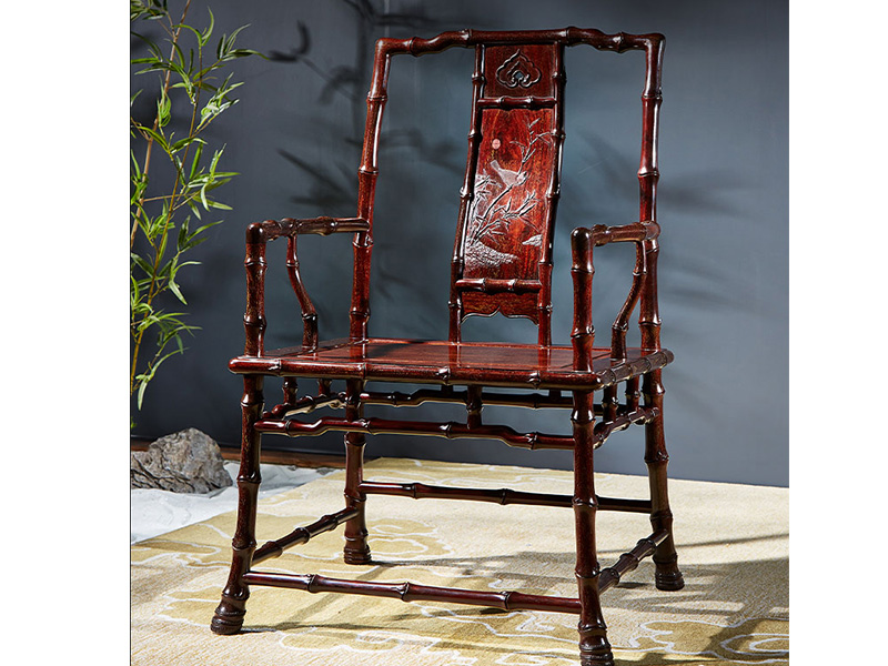 泰和园  新明式红木家具   红木家具 小叶紫檀座椅 当代君子竹节椅 3件套