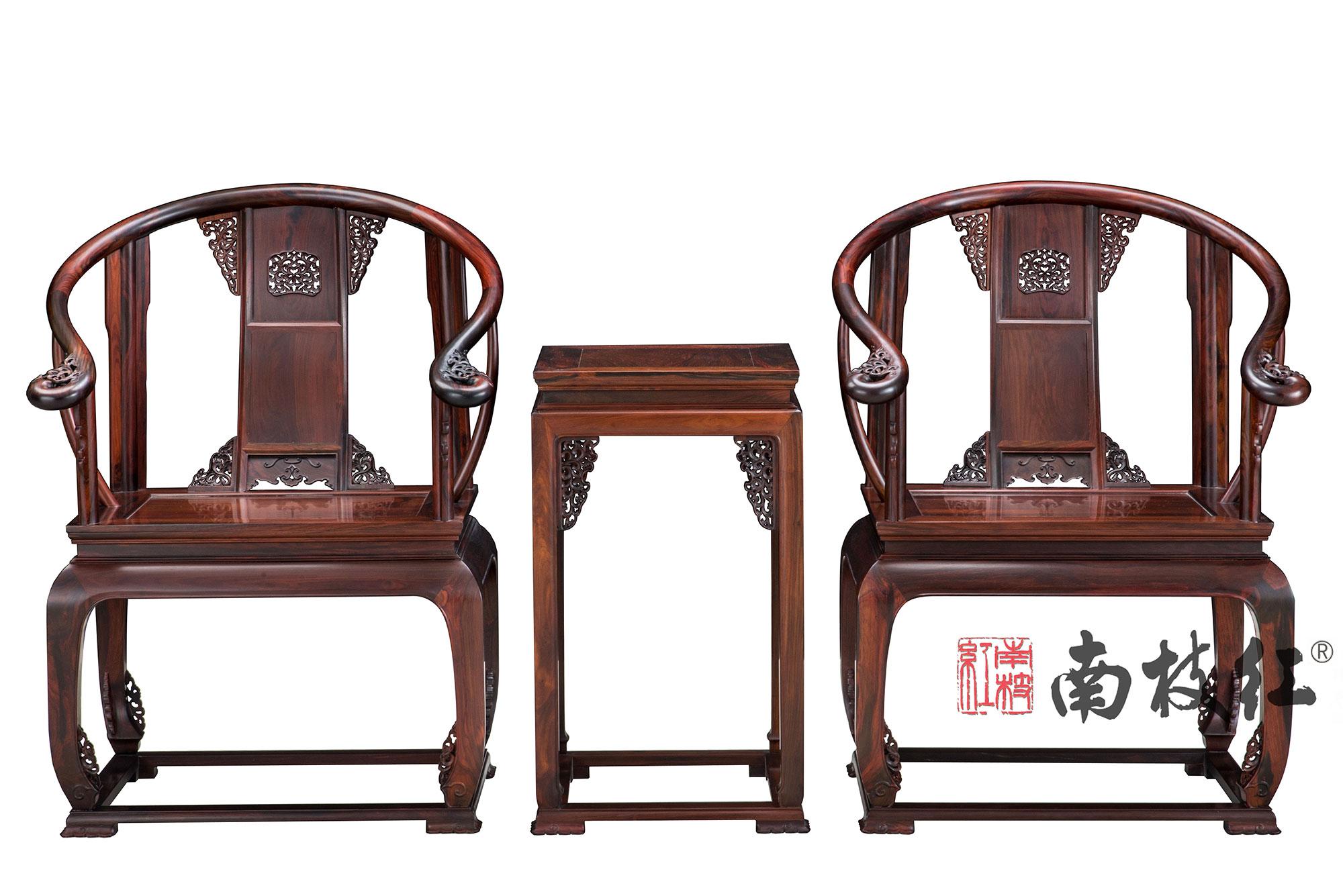 南枝红红木 大红酸枝(交趾黄檀)皇宫椅    高端红木家具 客厅系列 休闲系列  红木休闲椅 皇宫椅三件套