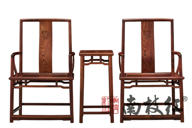 南枝红红木 白酸枝(奥氏黄檀)官帽椅 中式古典休闲椅 高端红木官帽椅 扇形官帽椅 三件套