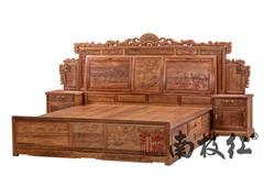 南枝红红木 缅甸花梨(大果紫檀)大床 古典中式大床 国标红木大床 卧房系列 2米弯背大床3件套