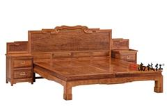 南枝红红木 缅甸花梨(大果紫檀)高端红木大床 古典红木大床 古典红木大床 卧房系列 卷草拐子纹大床三件套