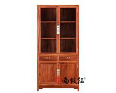 南枝红红木 缅甸花梨(大果紫檀)书柜 国标红木书柜 书房办公系列  置物收纳素面玻璃书柜