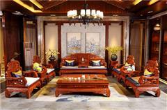 華行紅木 緬甸花梨沙發(學名大果紫檀) 中式新古典家具 國標紅木家具 客廳沙發系列 四季如意沙發11件套