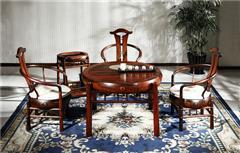 御乾堂 中式古典红木家具 大红酸枝 老红木 交趾黄檀 榫卯制作 客厅书房会议室 简雅茶台六件套