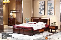 華行紅木 印尼黑酸枝大床(學名闊葉黃檀) 中式臥房系列 紅木家具大床 2.16米和諧之春大床3件套
