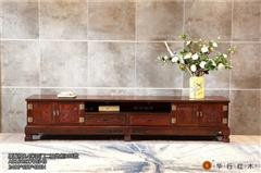 华行红木 印尼黑酸枝地柜(学名阔叶黄檀) 国标红木家具 中式古典地柜电视柜 2.4米四门二抽地柜