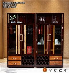 华行红木 印尼黑酸枝酒柜(学名阔叶黄檀) 国标红木家具 新中式红木酒柜 1.96米和谐之春酒柜1对