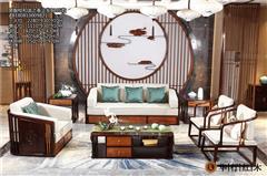 华行红木 印尼黑酸枝沙发(学名阔叶黄檀) 国标红木家具 新中式沙发 客厅系列 和谐之春沙发6件套