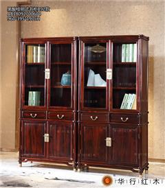 華行紅木 印尼黑酸枝書柜(學名闊葉黃檀) 紅木家具書柜 中式書房系列 1.92米明式書柜1對