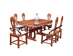 双洋红木 缅甸花梨家具 新古典家具 中式家具 红木家具 中式餐厅 餐厅系列 书情画意餐桌7件套