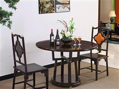 印巷森刻 黑檀 刺猬紫檀 喜上梅梢圆餐台餐桌 餐厅系列 新中式家具 红木家具