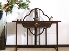 印巷森刻 黑檀 刺猬紫檀 喜上梅梢玄关条案 客厅系列 新中式家具 红木家具
