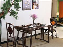 印巷森刻 黑檀 刺猬紫檀 喜上梅梢方餐桌餐台 餐厅系列 新中式家具 红木家具