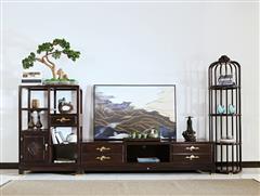 印巷森刻 黑檀 刺猬紫檀 喜上梅梢电视组合柜 客厅系列 新中式家具 红木家具