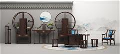 印巷森刻 黑檀 刺猬紫檀 喜上梅梢茶室茶台 客厅系列 休闲系列 新中式家具 红木家具