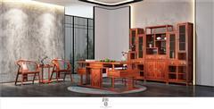 印巷森刻 黑檀 刺猬紫檀 赏梅书房 书房系列 办公系列 新中式家具