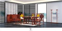印巷森刻 黑檀 刺猬紫檀 赏梅芳餐厅餐台餐桌 餐厅系列 新中式家具 红木家具