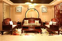 顺泰轩·吉象门第 东非酸枝 东非香花梨(小巴花) 喜上眉梢沙发6件套 新古典家具 客厅系列 实木家具
