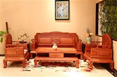 顺泰轩·吉象门第 东非酸枝 东非香花梨(小巴花)沙发 喜上眉梢沙发6件套 客厅系列 新古典家具 实木沙发