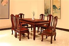 顺泰轩·吉象门第 东非香花梨(小巴花)东非酸枝餐桌 新春餐台方台7件套 新古典家具 实木餐台