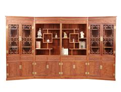 双洋红木 缅甸花梨家具 新古典家具 中式家具 红木家具 书房系列 六合同春四组合柜