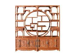 雙洋紅木 緬甸花梨家具 新古典家具 中式家具 紅木家具 書房系列 客廳系列 花好月圓多寶閣